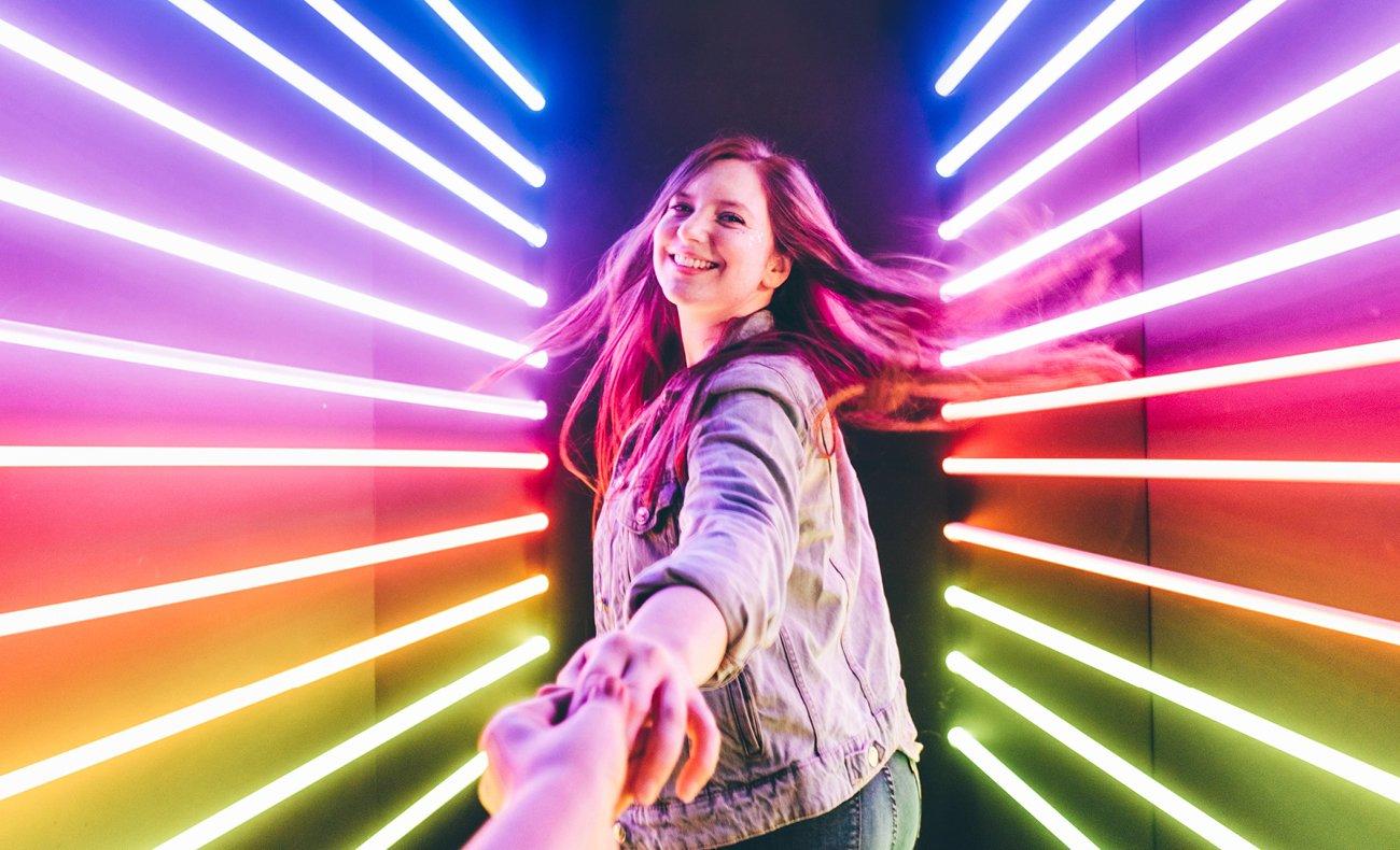Woman in neon lights